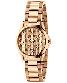 Gucci Women's Swiss G-Timeless Light Pink Gold-Tone Stainless Steel Bracelet Watch 27mm YA126567