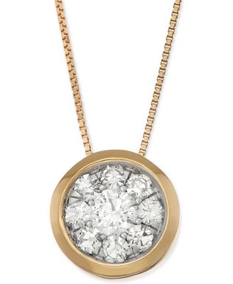 Diamond Cluster Bezel Pendant Necklace (5/8 ct. t.w.) in 14k Gold