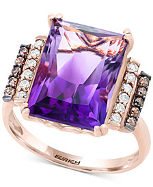 Final Call by EFFY® Amethyst (6 ct. t.w.) & Diamond (1/4 ct. t.w.) Ring in 14k Rose Gold