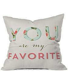 "Allyson Johnson Floral You Are My Favorite 16"" Square Decorative Pillow"