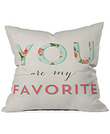 "Deny Designs Allyson Johnson Floral You Are My Favorite 16"" Square Decorative Pillow"