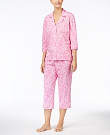 로렌 랄프로렌 파자마 세트 Lauren Ralph Lauren 3/4 Sleeve Cotton Notch Collar Capri Pant Pajama Set