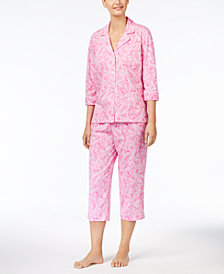 Lauren Ralph Lauren 3/4 Sleeve Cotton Notch Collar Capri Pant Pajama Set