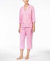 c5d7a3eade Lauren Ralph Lauren 3 4 Sleeve Cotton Notch Collar Capri Pant Pajama Set