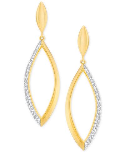 Swarovski Gold-Tone Pavé Openwork Drop Earrings