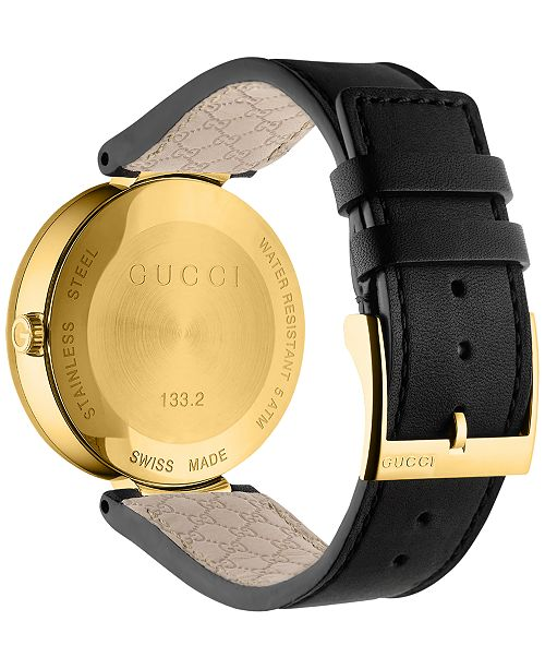a945b0f5ae4 ... Gucci Men s Swiss Interlocking Black Leather Strap Watch 42mm YA133212  ...