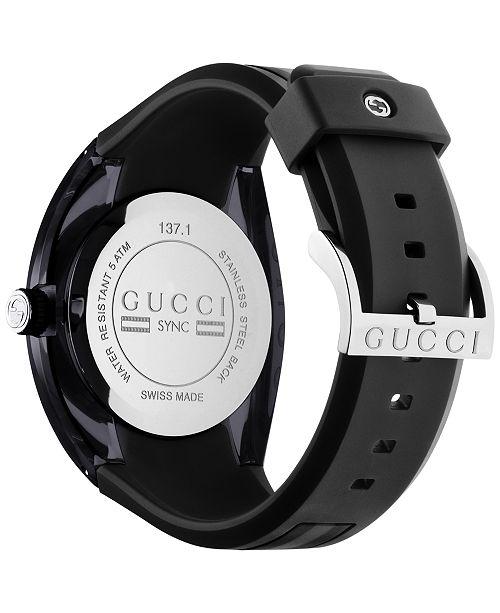 86292efc355 ... Gucci Sync Unisex Swiss Black Striped Rubber Strap Watch 46mm YA137101  ...