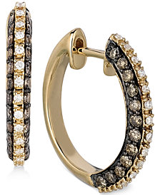 Le Vian Chocolatier® Diamond (1 ct. t.w.) Hoop Earrings in 14k Gold
