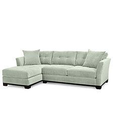Elliot 2-Piece Fabric Microfiber Chaise Sectional Sofa - Custom Colors, Created for Macy's