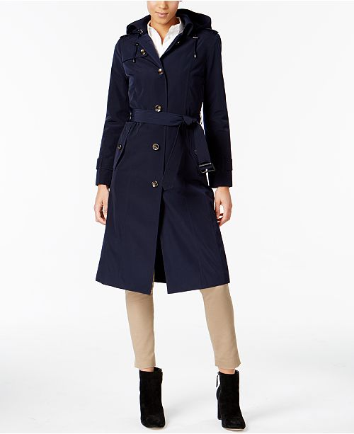 60ed1f2188f London Fog Hooded Belted Trench Coat   Reviews - Coats - Women ...