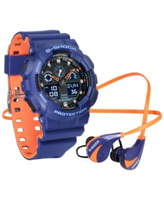 Image of G-Shock Men's Analog-Digital Blue & Orange Resin Strap Watch & Earbuds Gift Set 55mm, a Macy's Exclu
