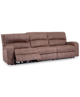 """Brant 111"""" 3-Pc. Fabric Power Reclining Sofa With 2 Power Recliners, Power Headrests And USB Power Outlet"""
