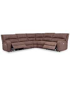 Brant 5-Pc. Fabric Sectional Sofa with 2 Power Recliners, Power Headrests and USB Power Outlet