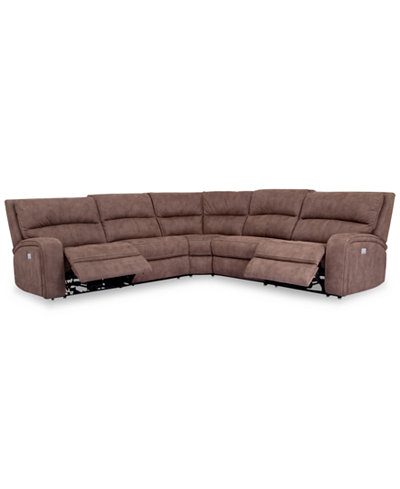 Brant 5 pc fabric sectional sofa with 2 power recliners for 5 pc sectional sofas