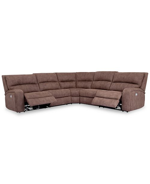 Pleasant Closeout Brant 5 Pc Fabric Sectional Sofa With 2 Power Recliners Power Headrests And Usb Power Outlet Pabps2019 Chair Design Images Pabps2019Com