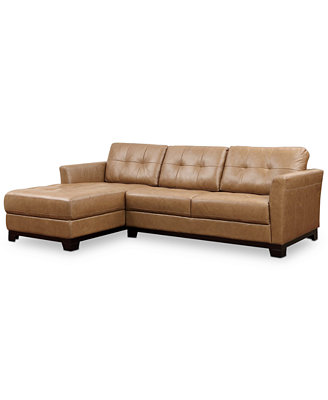 Martino Leather Chaise Sectional Sofa 2 Piece Apartment Sofa and Chaise Furniture Macy s