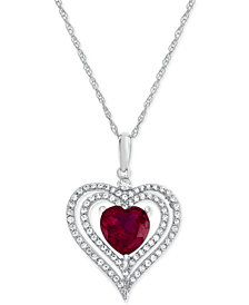 Lab-Created Ruby (2-1/5 ct. t.w.) and White Sapphire (1/2 ct. t.w.) Heart Pendant Necklace in Sterling Silver