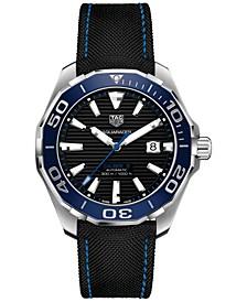 Men's Swiss Automatic Aquaracer Calibre 5 Black Fabric & Rubber Strap Watch 43mm