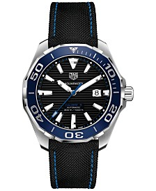 TAG Heuer Men's Swiss Automatic Aquaracer Calibre 5 Black Fabric & Rubber Strap Watch 43mm