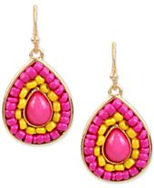 M. Haskell for INC International Concepts Gold-Tone Colored Stone & Bead Drop Earrings, Created for Macy's