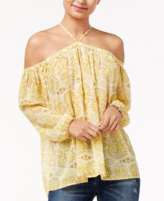 Say What? Juniors' Off-The-Shoulder Peasant Top