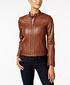 Cole Haan Petite Zip-Cuffs Leather Moto Jacket