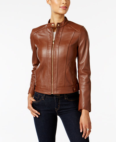 Cole Haan Leather Moto Jacket Women Macy S
