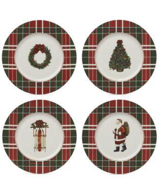 Vintage Plaid Set/4 Accent Plates