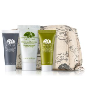 Receive a Free Cosmetics Bag + 3 Deluxe Samples with $55 Origins Purchase!
