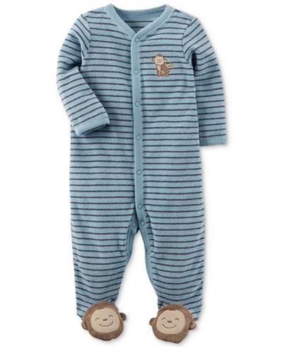 Carter's Baby Boys Striped Monkey Terry Footed Coverall