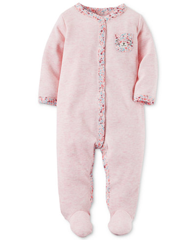 Carter's Baby Girls 1-Pc. Animal-Pocket Thermal Footed Coveralls