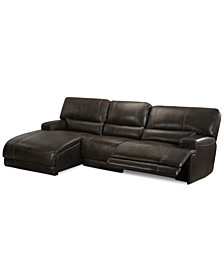 CLOSEOUT! Warrin 3-pc Leather Sectional Sofa with Chaise with 1 Power Recliner