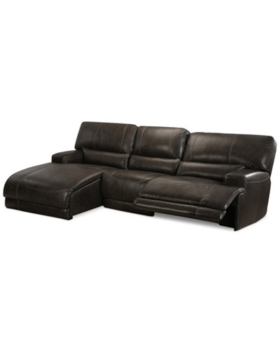 Warrin 3-pc Leather Sectional Sofa with Chaise with 1 Power Recliner - Warrin 3-pc Leather Sectional Sofa With Chaise With 1 Power