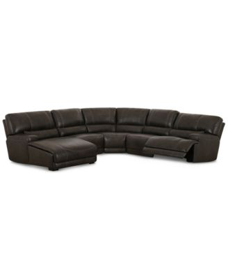 CLOSEOUT! Warrin 5-pc Leather Sectional Sofa with Chaise & 1 Power Recliner