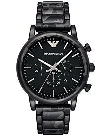 Emporio Armani Men's Chronograph Luigi Black Camouflage Stainless Steel Bracelet Watch 46mm