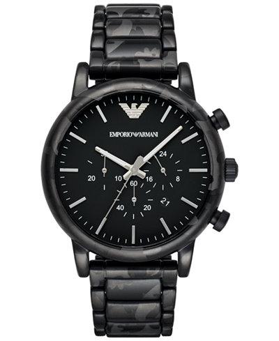 emporio armani mens chronograph luigi black camouflage