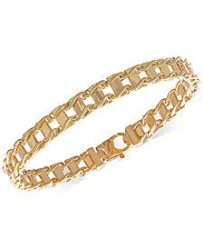 Italian Gold Unisex Railroad Link Bracelet in 10k Gold