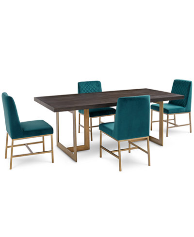 Cambridge Dining Furniture, 5-Pc. Set (Dining Table & 4 Teal Side Chairs), Created for Macy's