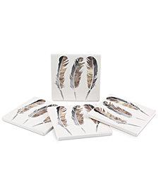 Thirstystone Glistening Feathers 4-Pc. Coaster Set