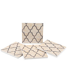 Thirstystone Mother-of-Pearl Ivory 4-Pc. Coaster Set