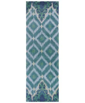 "Bob Mackie Home 1007 Blue/Green Opulence 2'6"" x 8' Runner Rug"