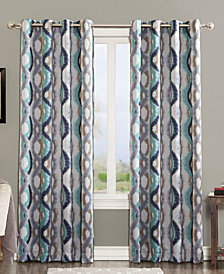 Sun Zero Corbin Ogee Watercolor Grommet Curtain Panel Collection
