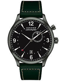 Movado Men's Swiss Heritage Series Calendoplan Green Leather Strap Watch 43mm