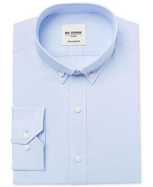 Ben Sherman Men's Slim-Fit Light Blue Solid Oxford Dress Shirt