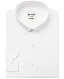 Men's Slim-Fit White Solid Oxford Dress Shirt