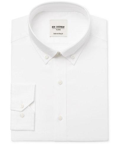 Ben Sherman Men's Slim-Fit White Solid Oxford Dress Shirt