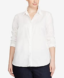 Lauren Ralph Lauren Plus Size Long Sleeve Non-Iron Shirt