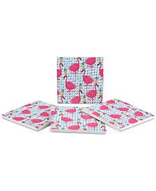 Party Flamingos 4-Pc. Coaster Set