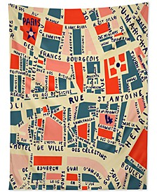 Holli Zollinger Paris Map Blue Tapestry