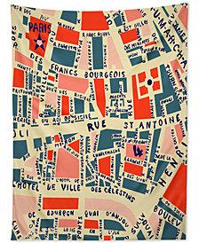 Deny Designs Holli Zollinger Paris Map Blue Tapestry
